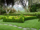 A box hedge parterre, cherry blossom, and an apple orchard - shouldn't we be in England? But mix in the native trees and steep hillsides beyond and it all works to give you that true sense of place - definitely a New Zealand garden.